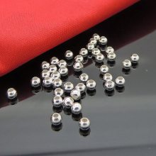 s925纯银DIY手工饰品配件 银光面银珠转运珠手链光珠散珠定位珠