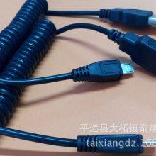 厂家直销 USB A公转Micro 公弹簧线 亮面三星手机充电线 V8线