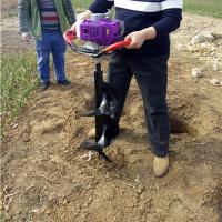 手提单人操作挖坑机图片 便携手提汽油挖坑机 拖拉机带挖坑机