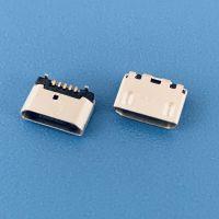 MICRO USB 5PIN小牛角型母座/4.85脚距/后插后贴带孔/蓝牙耳机控制板专用