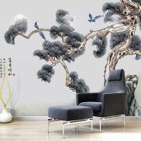 新中式手绘工笔国画无缝电视背景墙纸 客厅沙发卧室大型定制壁画