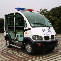 安步优品ABLQX046蓝白色 两排座全封闭电瓶巡逻车 四座电动封闭巡逻车厂家