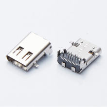 加长型TYPE-C前贴后插母座/端子前插后贴DIP+SMT/USB 3.1带定位柱