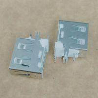 侧插式USB 2.0母座 5P带开关脚/短体11.8/90度侧立式三脚插板DIP/鱼叉脚/白胶/直边