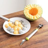 1289不锈钢水果挖球器 雕刻刀 多功能西瓜挖球勺雕花刀