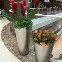 北欧风格花盆简约大号创意绿萝铁艺客厅插花植物不锈钢花盆金属花器 定制镀锌板花箱