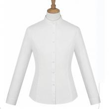 贵阳女衬衣定制 衬衫定做 职业夏装团购 QDV-123 白色细斜纹天丝棉立领韩版休闲长袖女衬衣