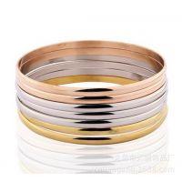 7个/套 流行女士钛钢不锈钢钢色金色玫瑰金手镯手链现货热卖 3MM