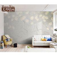 美邦大型定制卧室壁纸沙发电视背景墙纸美式田园梦幻花卉壁画