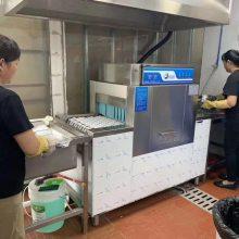 大型食堂自动洗碗机 智能洗碗机 商用洗碗机 长龙式带烘干洗碗机