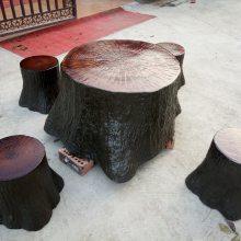 凉山州德昌县水泥仿树墩坐凳,仿树皮靠背椅,混凝土椅子,坐凳厂家