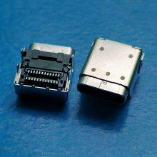 TYPE-C 加高3.4mm板上双贴24P母座 USB 3.1 卧式90度四脚插板DIP