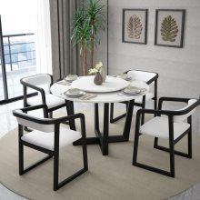 北欧大理石转盘圆桌白蜡木桌脚防潮餐桌简约时尚胡桃木色餐椅套装