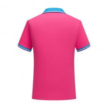 ZHIT-108203贵州广告衫定做玫红色CVC60%棉珠地布200克加厚拼色翻领短袖休闲POLO衫