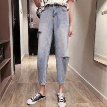 义乌哪里有便宜韩版牛仔裤工厂清货时尚牛仔裤特价服装10元整单牛仔裤批发