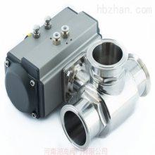 河南Q685F气动卫生级卡箍快装三通球阀价格,湖高气动卫生级三通球阀厂家