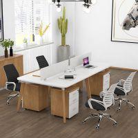 职员办公桌4人位组合北欧实木脚屏风工作位现代简约 成都办公家具