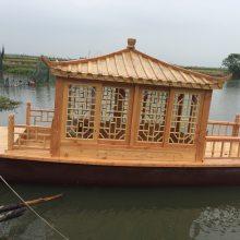 山东出售电动船中式观光木头船户外旅游木船公园景区单亭旅游客船