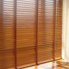 厂家定制卧室隔热遮光阳台卫生间防水UV烤漆椴木竹木实木百叶窗帘