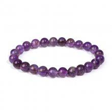 纯天然紫水晶圆珠手链 中高档天然原石珠子手串女手饰厂家直销