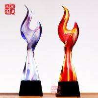 广州琉璃奖杯厂家琉璃奖杯新款赤焰琉璃杯创业先锋奖杯慈善之星款