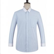 贵州男衬衫批发订做 商务衬衣定制 QDG-116 蓝色竖条纹80%棉配色方规领长袖男衬衣