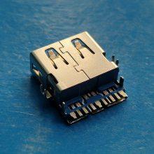 破板式3.0母座 USB 11P插座沉板式蓝色胶芯直边短体前两脚鱼叉脚固定
