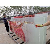 售楼处迎宾墙玻璃灯箱夹丝玻璃山水画水墨图案就选郑州誉华召,流水线生产质量有保证