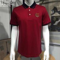 名都汇男装品牌戈兰图翻领T恤8537红色纯棉弹性
