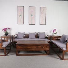 新中式实木沙发胡桃木酒店茶楼客厅组合现代简约成套家具
