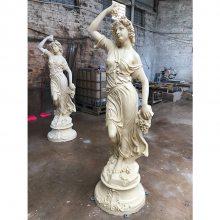 欧式拉小提琴少女雕塑 含羞小少女砂岩雕塑 洗浴中心天使装饰圆雕
