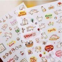 韩国创意文具 可爱猫咪日记本装饰贴纸组 卡通动物不干胶贴纸