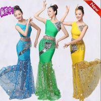 泼水节蓝色绿色黄色傣族演出服云南服舞蹈服装亮片修身鱼尾长裙女