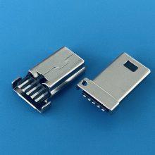 MINI USB 5PIN公头/B型短款直排(两脚一孔)托胶/外露9.35mm/焊线式