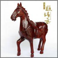 摆件东阳木雕刻马 红木工艺品生肖马装饰品摆设 实木质家居风水摆