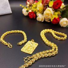 双龙头包珠项链 厚金加重 男士光面实心佛珠 镀金首饰厂家直销