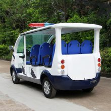 安步优品ABLQX080蓝白色三排座独立公交座椅电动巡逻车 六座开放式电动巡逻车厂家