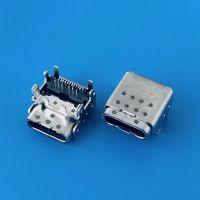 板上垫高TYPE-C双壳母座/六脚插板DIP+SMT/USB 3.1半插半贴/激光点焊