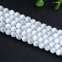 白色猫眼石散珠串珠 DIY手工手链项链饰品天然水晶半成品厂家批发