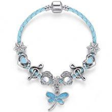 新款皮绳水晶串珠手链 蓝色蜻蜓吊坠DIY首饰 速卖通热销手饰批发