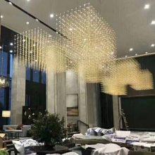 售楼中心吊灯 大型酒店大堂吊灯 展厅LED光立方造型不锈钢非标工程灯