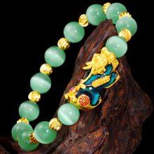 绿玛瑙情侣貔貅手串 七彩变色貔貅沙金手串男士 镀金貔貅手链 女