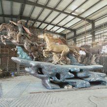 场景供应铸铜雕塑马 大型号铜马定制铜奔马艺术设计纯铜铸造欧式园林雕塑马优梵定制