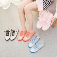 韩版时尚纯色短筒雨鞋女士果冻透明水晶鞋防滑防水鞋胶鞋系带雨靴