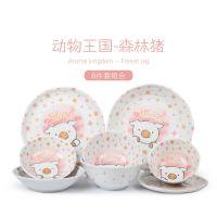 日本原装儿童陶瓷碗餐具可爱米饭碗家用日式和风手绘卡通盘套装