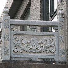 花岗岩石雕栏板 石雕栏杆定做价格 河道石护栏定做厂家