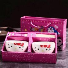 叮当猫碗筷陶瓷学生餐具套装 促销会销礼品 情侣卡通家用饭碗定制