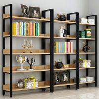 钢木书架简易铁艺货架墙上多层置物架客厅架子展示架书柜定做