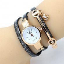 韩版时尚女士手表 休闲镶钻三圈缠绕细带手链表 创意个性石英手表