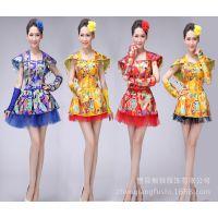 新款现代舞蹈服装蓬蓬裙广场舞演出服成人中国民族风打鼓服舞台服